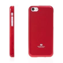 Gumový kryt Mercury pro Apple iPhone 5C - jemně třpytivý - červený