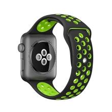 Řemínek pro Apple Watch 44mm Series 4 / 5 / 42mm 1 2 3 - silikonový - černý / zelený - (M/L)