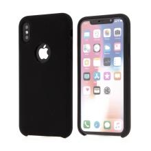 Kryt pro Apple iPhone X - gumový - příjemný na dotek - výřez pro logo - černý