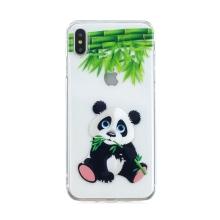 Kryt pro Apple iPhone Xs Max - gumový - panda - průhledný