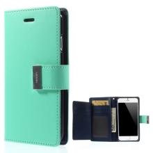 Vyklápěcí pouzdro - peněženka Mercury pro Apple iPhone 6 / 6S - s prostorem pro umístění platebních karet - zeleno-modré
