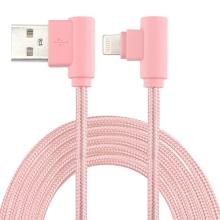 Synchronizační a nabíjecí kabel - Lightning pro Apple zařízení - tkanička - 90° lomená koncovka Lightning - Rose Gold - 1m