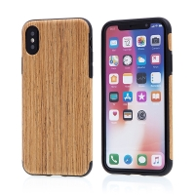 Kryt pro Apple iPhone X - gumový - hnědý / motiv dřeva dub střední