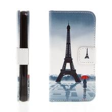 Pouzdro pro Apple iPhone 5 / 5S / SE - integrovaný stojánek a prostor na doklady - Eiffelovka