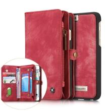 Pouzdro pro Apple iPhone 6 / 6S - peněženka + odnímatelný kryt na telefon - prostor na doklady - umělá kůže - červené