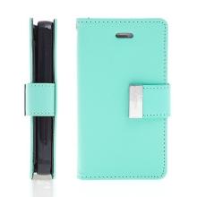 Vyklápěcí pouzdro - peněženka Mercury pro Apple iPhone 4 / 4S - s prostorem pro umístění platebních karet - světle zelené