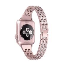 Řemínek pro Apple Watch 44mm Series 4 / 5 / 6 / SE / 42mm 1 / 2 / 3 - s kamínky - kovový - Rose Gold růžový