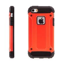 Kryt pro Apple iPhone 5 / 5S / SE - plasto-gumový / antiprachové záslepky - červený