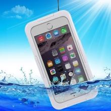 Voděodolné plasto-silikonové pouzdro pro Apple iPhone 6 / 6S / 7 / 8 - bílo-průhledné