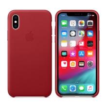 Originální kryt pro Apple iPhone Xs - kožený - červený