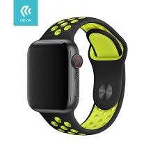 Řemínek DEVIA pro Apple Watch 44mm Series 4 / 5 / 42mm 1 2 3 - sportovní - silikonový - černý / žlutý