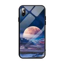 Kryt pro Apple iPhone Xs Max - měsíční krajina - guma / sklo - černý / modrý