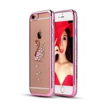 Kryt pro Apple iPhone 6 / 6S gumový s lesklými kamínky - labuť - Rose Gold růžový