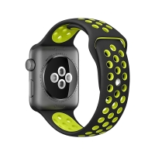 Řemínek pro Apple Watch 44mm Series 4 / 5 / 42mm 1 2 3 - silikonový - černý / žlutý - (M/L)