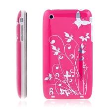 Ochranný plastový kryt pro Apple iPhone 3G/3GS - růžový s průhledným rámečkem a stříbrným květinovým motivem