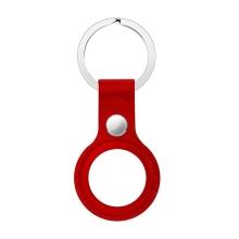 Kryt / obal pro Apple AirTag - kovový kroužek - kožený - červený