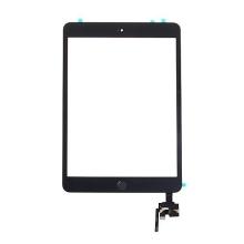 Dotykové sklo (touch screen) s IC konektorem a flex s Home Buttonem pro Apple iPad mini 3 - černé - kvalita A+