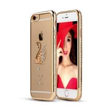 Kryt pro Apple iPhone 6 / 6S gumový s lesklými kamínky - labuť - zlatý