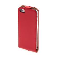 Flipové vyklápěcí pouzdro pro Apple iPhone 5 / 5S / SE s texturou kůže - červené