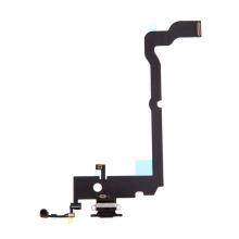 Napájecí a datový konektor s flex kabelem + GSM anténa + mikrofony pro Apple iPhone Xs Max - černý - kvalita A+