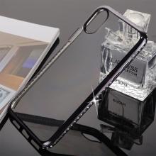 Kryt pro Apple iPhone X - gumový - lesklé kamínky na obvodu - černý