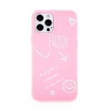 Kryt pro Apple iPhone 12 / 12 Pro - Enjoy every day - gumový - růžový