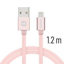 Synchronizační a nabíjecí kabel SWISSTEN - MFi Lightning pro Apple zařízení - tkanička - Rose Gold - 1,2m