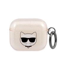 Pouzdro / obal KARL LAGERFELD pro Apple AirPods 3 (2021) - gumové - hlava Choupette - zlaté