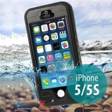 Voděodolné plastové pouzdro Redpepper pro Apple iPhone 5 / 5S / SE s podporou funkce Touch ID + poutko na ruku - černé