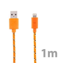 Synchronizační a nabíjecí kabel Lightning pro Apple iPhone / iPad / iPod - tkanička - oranžový - 1m