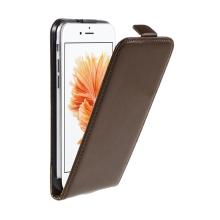 Pouzdro pro Apple iPhone 6 / 6S - flipové - kožené - hnědé