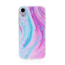 Kryt BABACO pro Apple iPhone Xr - gumový - mramor - růžový / modrý