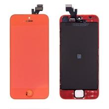 LCD panel + dotykové sklo (touch screen digitizér) + Home Button pro Apple iPhone 5 - pogalvanizovaný povrch - červený