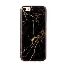 Kryt pro Apple iPhone 5C - mramorová textura - gumový - černý / zlatý