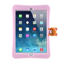 """Pouzdro pro Apple iPad 10,2"""" (2019 - 2021) - stojánek - silikonové - růžové / medvídek"""