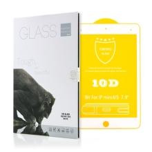 Tvrzené sklo (Tempered Glass) pro Apple iPad mini 4 / 5 - 2,5D okraj - bílý rámeček - čiré