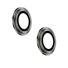 Tvrzené sklo (Tempered Glass) + hliníkový kroužek pro Apple iPhone 12 / 12 mini - na čočku kamery - černé