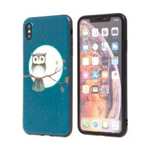 Kryt pro Apple iPhone Xs Max - gumový - sova - modrý