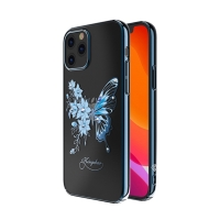 Kryt KINGXBAR pro Apple iPhone 12 / 12 Pro - s kamínky - plastový - motýli a květiny - černý / modrý