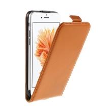 Pouzdro pro Apple iPhone 6 / 6S - flipové - kožené - oranžové