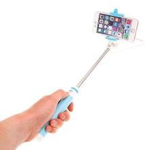 Selfie tyč teleskopická - kabelová spoušť - 3,5mm jack - modrá