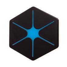 Bezdrátová nabíječka / nabíjecí podložka Qi - šestiúhelník - modrá hvězda / černá