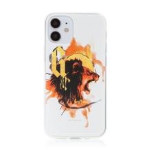 Kryt Harry Potter pro Apple iPhone 12 mini - gumový - lev Nebelvíru - bílý