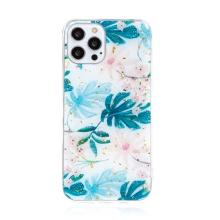 Kryt FORCELL pro Apple iPhone 12 Pro Max - zlaté úlomky - gumový / plastový - listy a květy