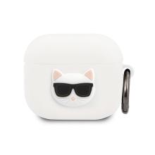 Pouzdro / obal KARL LAGERFELD pro Apple AirPods 3 (2021) - silikonové - hlava Choupette - bílé