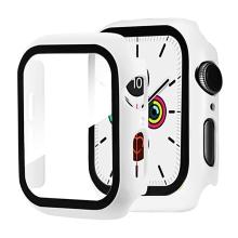 Tvrzené sklo + rámeček pro Apple Watch 44mm Series 4 / 5 / 6 / SE - bílý