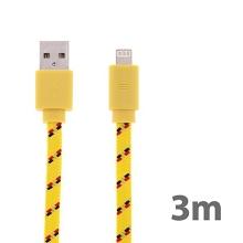 Synchronizační a nabíjecí kabel Lightning pro Apple iPhone / iPad / iPod - tkanička - plochý žlutý - 3m