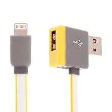Synchronizační a nabíjecí kabel Lightning - pravoúhlý USB konektor + připojovací USB port - žlutý - 1m