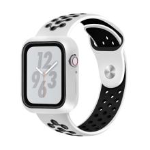 Řemínek pro Apple Watch 44mm Series 4 / 42mm 1 2 3 + ochranný rámeček - silikonový - bílý / černý