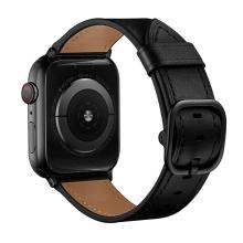 Řemínek pro Apple Watch 45mm / 44mm / 42mm - kožený - černý